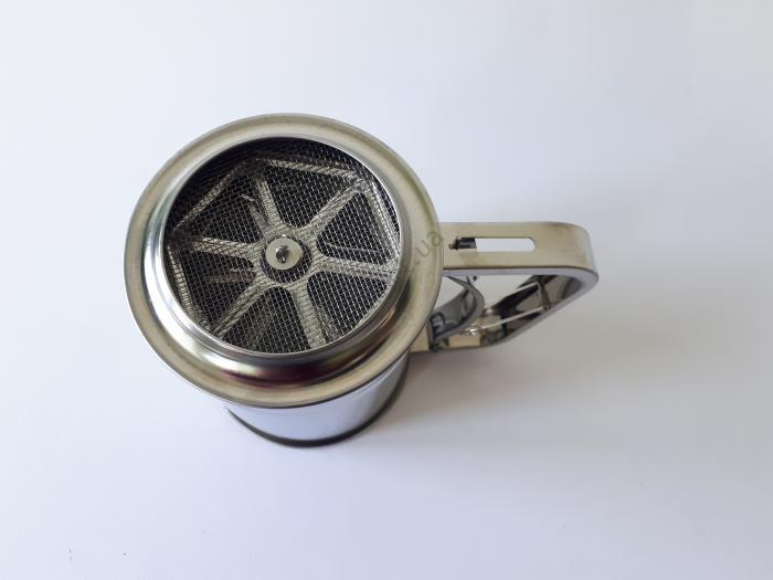 Кружка-сито для муки нержавеющая, d 9,8 cm, h 12 cm.