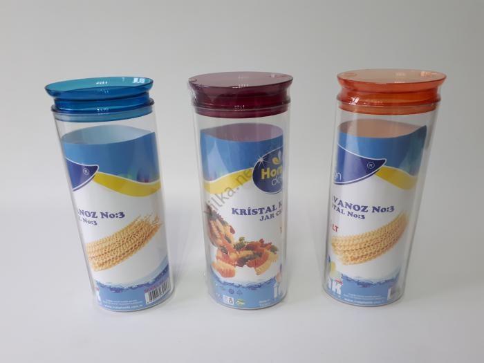 Емкость пластмассовая для сыпучих продуктов 10*7 cm, h 30,5 cm. (1,5 л.)