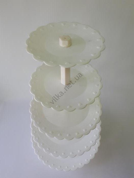 Стойка 5-ти этажная пластмассовая белая  d 20; 24; 29; 34; 39 cm; h  68 cm.