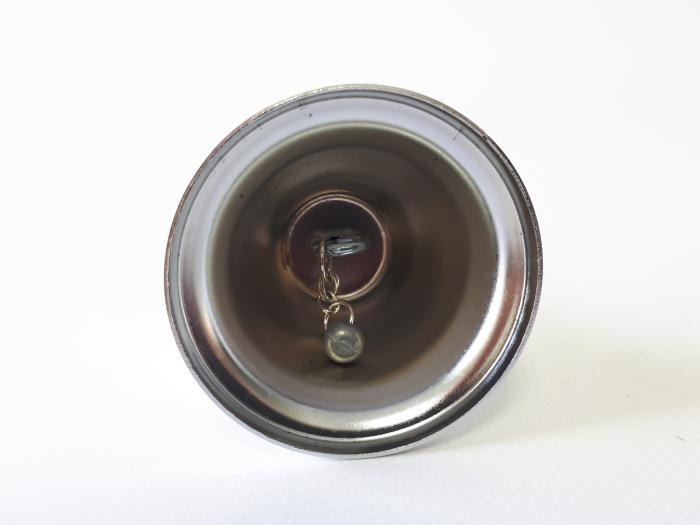 Колокольчик для официанта металлический d 6,5 cm, h 4,5 cm. h с ручкой 12 cm.