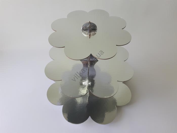Этажерка картонная из 3-х для пирожных серебро d 23,5; 30; 37 cm; h 31 cm.