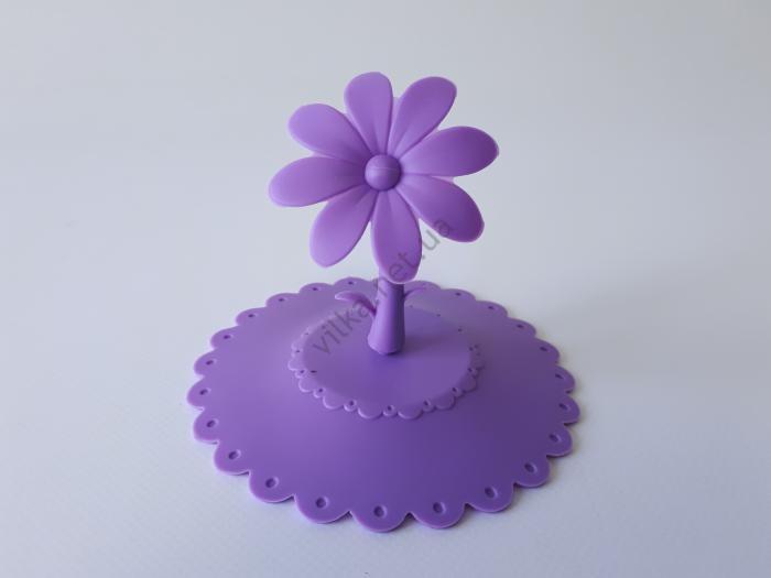 Крышка силиконовая на чашку д. 10 см. Цветок