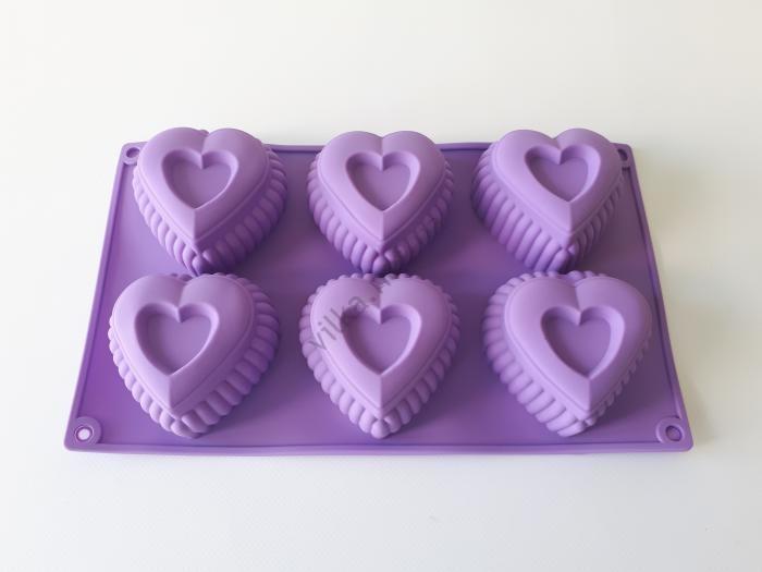 Форма силиконовая на планшете Сердце 29*17*4,5 cm.