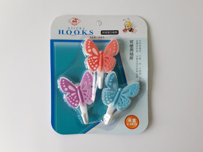 Крючки пластмассовые в наборе из 3-х 5,5 см.  Бабочка