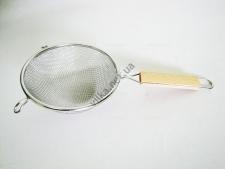 Сито двойная сетка с деревянной ручкой 2-крючка 16 см.