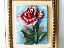 Картина   Роза  лепка  37,5 х 32,5