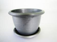 Кашпо цветочное металлик, d 14cm., h 10cm