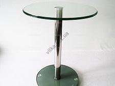 Этажерка стеклянная низкая серебро