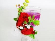 Свеча обычная гелевая с цветами 11,5 см.