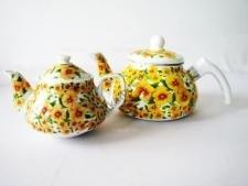 Чайник эмаль и керамика  Анютины глазки