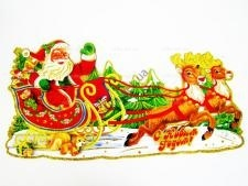 Композиция картонная Сани +Дед Мороз