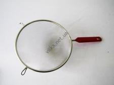 Сито нержавейка с красной ручкой 21 см.