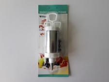Шприц нержавеющий кондитерский с лопаткой L 20 cm., емкость L 10,5 cm