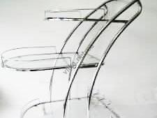 Сервировочный столик  D-010В серебро
