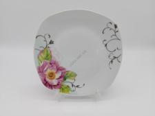 Тарелка квадратная  Роза чайная для 2-го .№9,5 - 22,5 см. (12 шт. в уп.)