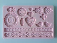 Молд кондитерский силиконовый Сердце и Цветы 12,5 х 19,5 cm