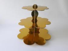 Этажерка картонная из 3-х для пирожных золото d 23,5; 30; 37 cm; h 31 cm.