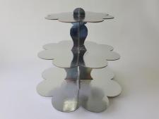 Этажерка картонная из 3-х для пирожных серебро д. 23,5; 30; 37; выс. 31