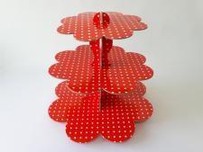 Этажерка картонная из 3-х для пирожных красная д. 23,5; 30; 37; выс. 31