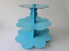 Этажерка картонная из 3-х для пирожных голубая d 23,5; 30; 37 cm; h 31 cm.