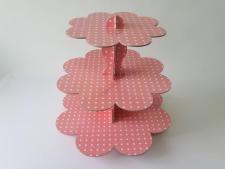 Этажерка картонная из 3-х для пирожных розовая д. 23,5; 30; 37; выс. 31