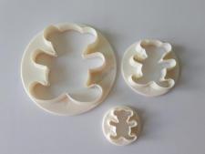 Вырубка кондитерская пластмассовая из 3-х  Мишки - 7 см; 4,5 см; 2,5 см