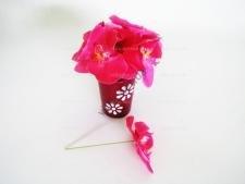Орхидея искусственная бордо на проволоке 15 см.