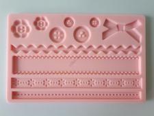 Молд кондитерский силиконовый Бантики, пуговки, оборка 13 х 20 cm