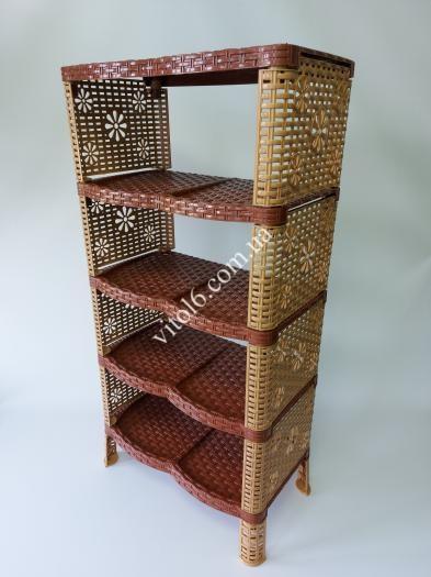 Полка обувная 5-ти этажная  коричневая Р025
