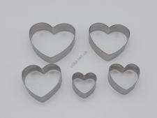Форма металлическая 8 х 1,5 см. из 5-ти Сердце