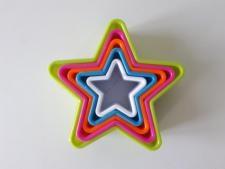 Форма пластмассовая из 5-ти Звезда 4,3; 6; 7; 8,5; 9,5 cm.