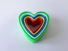 Форма пластмассовая  из 5-ти Сердце 4; 5,3; 6,3; 7,5; 9 см.
