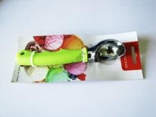 Ложка нержавеющая для мороженного с силиконовой ручкой (3цв)  17,5 см.; 5,5 х 3,5 см.