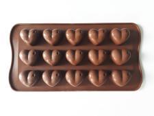 Форма силиконовая из 15-ти  Сердце  в упаковке 17864 - 20 х 11 см.
