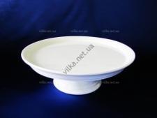 Блюдо на ножке керамическое белое д. 24,5 см.  с бортом