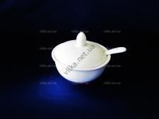 Соусник керамический белый с крышкой и ложкой выс. 3,5 см. д 8,5 см.