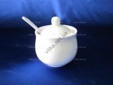 Сахарница керамическая белая  выс. 6,5 см. д. 8 см. ( 2 СОРТ, БЕЗ ОБМЕНА )