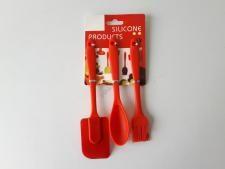 Набор кухонных принадлежностей силиконовый из 3-х (ложка+лопатка+кисточка) L 19,5/20/23 cm.