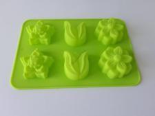 Форма силиконовая на планшете  Цветы из 6-ти 26 х 18 х 3,5 cm.