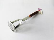 Толкушка нержавеющая 0943 с деревянной ручкой 30,5 см.