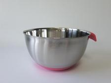 Миска нержавеющая, с силиконовым дном и ручкой, розовая d 25,5 cm, h 14 cm. (5 л.)