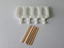 Форма силиконовая для мороженного из 4-х (4*7cm, h 1,5 cm.) 12*21 cm.