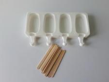 Форма силиконовая для мороженного из 4-х (5*9 cm, h 2 cm.) 15*26 cm.