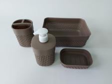 Набір з 4-х для ванної кімнати ( дозатор рід. мила,мильниця,підс. д/зуб щіток,кошик)PYR 107 (24 шт)